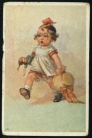 Fialkowska, W.  - Girl, Doll, Hat ----- Postcard Traveled - Fialkowska, Wally
