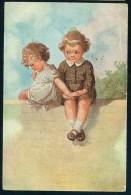 Fialkowska, W. - Boy, Girl, Holding Hands ----- Postcard Traveled - Fialkowska, Wally