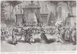 2 Gravure Ancienne 1876 Theatre Aida       Verdi    Italie La Porte   De Thebes  Radames   Amonasro - Vieux Papiers