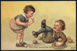 Fialkowska, W. - Fall' Man Nicht, Sonst Fallst Du! - Boy, Girl, Apples ----- Postcard Traveled - Fialkowska, Wally