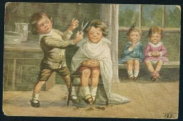 Fialkowska, W. - Children, Hair Cutting ----- Postcard Traveled - Fialkowska, Wally