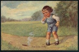 Fialkowska, W. - Eine Feine Sache! - Boy, Cigarette ----- Postcard Not Traveled - Fialkowska, Wally