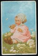 Fialkowska, W. - Ungebetene Bafte - Baby, Flowers ----- Postcard Not Traveled - Fialkowska, Wally