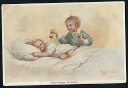 Fialkowska, W. - Guten Morgen Bruderchen ----- Postcard Traveled - Fialkowska, Wally