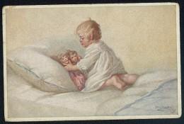 Fialkowska, W. - Baby, Dolls, Bed ----- Postcard Traveled - Fialkowska, Wally