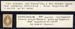 ENTIER POSTAL NAPOLEON III # PREMIER PROJET RENARD # GRAVE PAR ESPARON # 1885 # SUR FRAGMENT # RELIEF # PAPIER CHAMOIS # - Proofs
