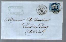 France TP Cérès 60 ? Piquage à Cheval - CAD Paris 1-08-1876 Pour Rouhier Pont De Pany - Lettre LAC Cachet Girard Laines - 1849-1876: Période Classique