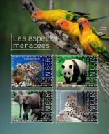 DELUXE IMPERF  Niger 2014 Endangered Animals Panda Turtle Elephant Parrot Birds Wild Cat S/S MNH NIG13707 - Stamps