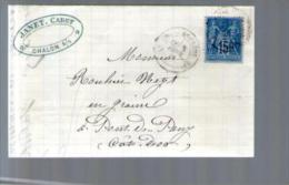 France TP Sage 90 - CAD Chalon Sur Saône 8-02-1881 Pour Rouhier Pont De Pany - Lettre LAC Janet Cadet Grains Farines - Marcophilie (Lettres)