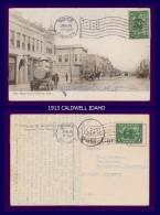 1913 CALDWELL IDAHO GOOD ANIMATION ADVERT LEVI STRAUSS Etc STAMP SCOTT 397 BICKERDIKE FLAG MACHINE CANCEL - Caldwell