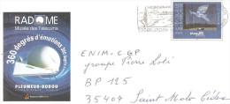 ENTIER POSTAL PAP MAGRITTE ENVELOPPE 22X11 RADOME PLEUMEUR BODOU FLAMME TREBEURDEN - Prêts-à-poster: Other (1995-...)