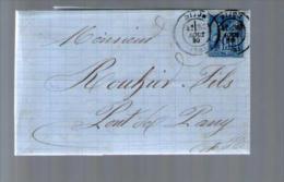 France TP Sage 90 - CAD Dijon 30-08-1880 Pour Rouhier Pont De Pany - Lettre LAC Banque Gaulin Dunoyer - Marcophilie (Lettres)