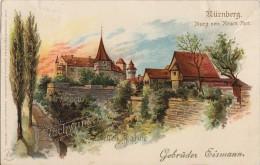 Neujahrs-Firmenkarte Gebrüder Eismann Burg Vom Neuen Thor Color Gelaufen 30.12.01 - Nürnberg