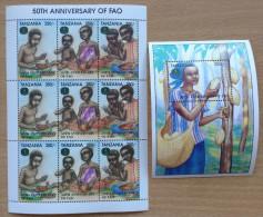 Tanzania 1995 FAO Food Agriculture United Nations 50th Anniversary 1 Sheet + 1 Souvenir Sheet MNH** - Tanzania (1964-...)