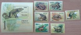 Tanzania 1996 Frogs Frösche Reptiles Reptilien Grenouilles 7 Stamps + 1 Souvenir Sheet MNH** - Tanzania (1964-...)