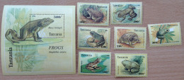 Tanzania 1996 Frogs Frösche Reptiles Reptilien Grenouilles 7 Stamps + 1 Souvenir Sheet MNH** - Tanzanie (1964-...)