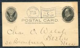 1906 USA Boston Cambridge Station C Flag Cancel Lechmere National Bank Stationery Postcard - United States