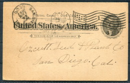 1897 USA Lowell, Massachusetts Flag Cancel   Stationery Postcard - United States
