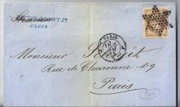 FRANCE - 13A LETTRE PARIS POUR PARIS 1862 - TIMBRE AVEC 4 BELLES MARGES - ETOILE MUETTE - 1853-1860 Napoléon III.