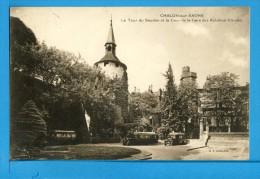 CP, 71, CHALON-SUR-SAONE, La Tour Du Saudon Et La Cour De La Gare Des Autobus Citroen, Voyagé En 1936 - Chalon Sur Saone