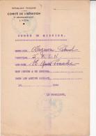 COMITE DE LIBERATION -LYON -1944 - ORDRE DE MISSION - Vieux Papiers