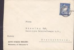 Poland AUTO STACJA OBSLUGI, WARSZAWA 1938 Cover Brief To BRAUNSCHWEIG Germany Marschall E. Rydz-Smigly Stamp - 1919-1939 République