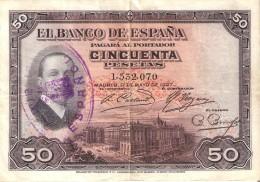 BILLETE DE ESPAÑA DE 50 PTAS  DEL AÑO 1927 CON RESELLO DE LA REPUBLICA ESPAÑOLA  (BANKNOTE) - [ 1] …-1931 : Primeros Billetes (Banco De España)