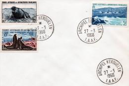 TAAF LETTRE DE KERGUELEN TIMBRE N° 4/5 ET 13 C OBLITÉRATION  DU  27/3/1966 - Antarctic Wildlife