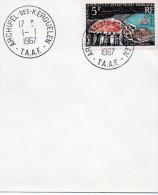 TAAF LETTRE DE KERGUELEN TIMBRE N°  20 OBLITÉRATION  DU 1/1/1967 VOIR CACHET - Antarctic Wildlife
