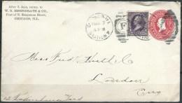 .B.14.MAA.166.   POSTWAARDESTUK  VAN  DE  U.S.A.  NAAR  ENGELAND.  1899.  BIJ-FRANKERING. - Brieven En Documenten