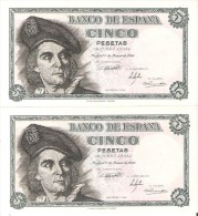 PAREJA CORRELATIVA DE 5 PTAS DEL 1948 SERIE E CALIDAD EBC+ (BANKNOTE) ELCANO - [ 3] 1936-1975 : Régimen De Franco
