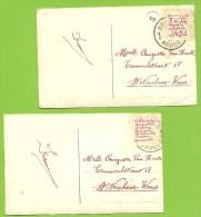 2x Kaart Verstuurd Met Correspondentie Onder De Postzegels / Message Secret Sous Le Timbre / Fraude Postale : Texte Sous - Non Classés
