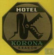 Voyo HOTEL KORONA Krakow Poland Hotel Label  Sticker 1960s Vintage - Hotelaufkleber