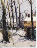 """""""Chemin Sous La Neige"""" Jean Levasseur - Peintres En Normandie (carte Double) 16.5X12.5 Arts - Autres Communes"""