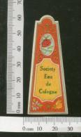 India 1950's Society Eau De Cologne French Print Vintage Perfume Label Multi-colour # 2090 - Labels
