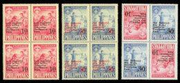 PHILIPPINES 1961 - Archery, Scouts. Overprinted, 3 Blocks Of 4 - Mi 673-4 X+y, Sc 832-3, 833a - Tiro Al Arco