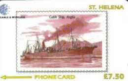 ST HELENA 7.5 L  BOAT SHIP ANGLIA ON  STAMP SHIPS MINT CODE:327CSHA  STH-32 1200 ONLY !! - St. Helena Island