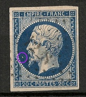Napoléon III N° 14  Margé, TB Nuance Foncée  : POINT BLANC. A PLANCHER - 1853-1860 Napoleon III