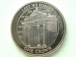 2008 - 1 Crown LEST WE FORGET / KM ... ( Uncleaned Coin / For Grade, Please See Photo ) !! - Gibilterra