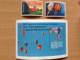 Tanzania 1993 Hot Air Balloon Ballon Montgolfière Heißluftballon Blanchard 2 Stamps + 1 Souvenir Sheet MNH** - Tanzanie (1964-...)