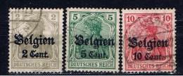 DR Belgien 1916 Mi 10 12 14 Germania - Besetzungen 1914-18