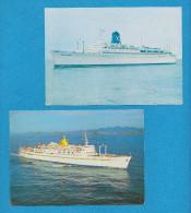 BATEAU PAQUEBOT MARINE MARCHANDE TRANSPORT ( LOT DE 2 CARTES )