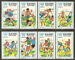 Zaire 1978 Mi# 558-565 ** MNH - 11th World Cup Soccer Championship, Argentina - Zaïre