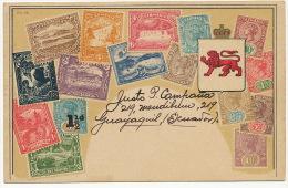 Philatelic Card Embossed  Stamps By Ottmar Zieher Carte Philatelique Guayaquil To Cuba - Australia