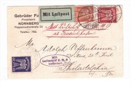 "ZEPPELIN 29-8-1924 ""MIT LUFTSCHIFF Z.R. 3 BEFORDERT"" Postcard From Nurnberg To Philadelphia - Airmail"