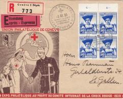 1939, LETTRE SUISSE, Croix Rouge, EXPRES RECOM GENEVE Pour St GALLEN, BLOC DE 4 Mi 362 Pour La CROIX ROUGE /5260 - Schweiz