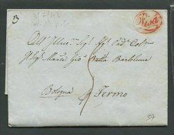 1843  RARA PREFILATELICA DA PISA   X  FERMO  CON TRANSITO  BOLOGNA      INTERESSANTE DOCUMENTO STORICO - 1. ...-1850 Prefilatelia