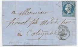 """- Lettre - VAR - BRIGNOLLES - PC.529 S/TPND N°14 Ah Variété """"POSTFS"""" + Càd T.15 - 1860 - 1853-1860 Napoléon III"""