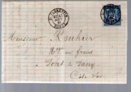 France TP Sage 90 - CAD Saint Florentin 13-08-1881 Pour Rouhier Pont De Pany - Lettre LAC Signée Denizot - Marcophilie (Lettres)
