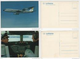 ^ LUFTHANSA COCKPIT AEREO AVION BOEING 707 AIR PLANE 2 CARTOLINE POSTCARDS 88 - 1946-....: Moderne